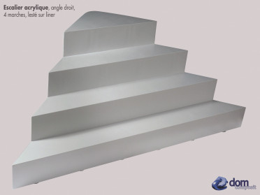 Escalier angle droit lesté sur liner Dom Composit
